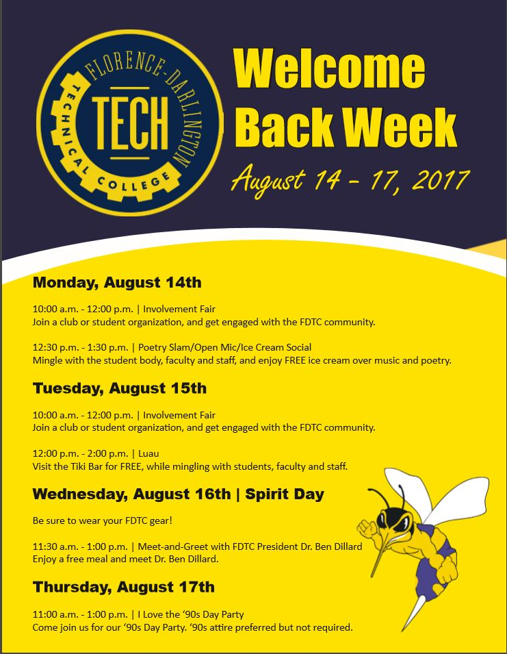 Welcome Back Week 2017 Flyer